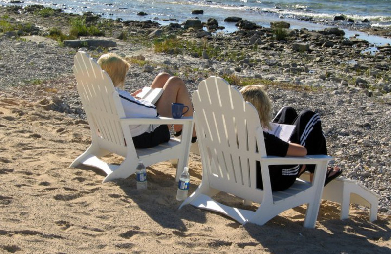 Relaxing by the beach at Bay Harbor Resort and Marina.