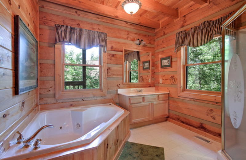 Rental bathroom at Stony Brook Cabins, LLC.