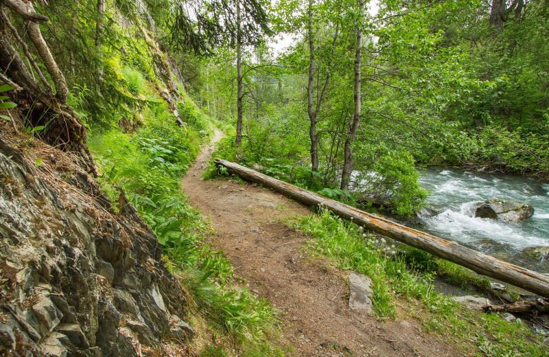 Hiking at Kenai Riverside Lodge.