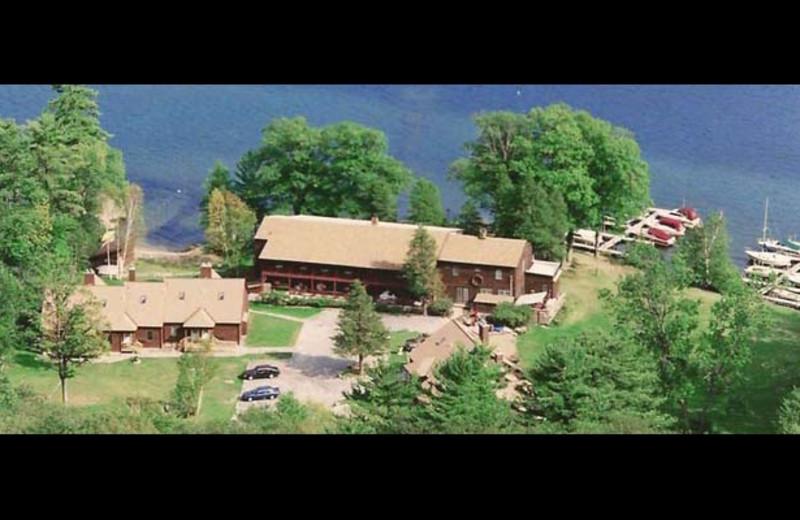 Aerial view of Northern Lake George Resort.