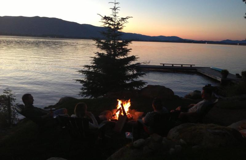 Campfire at Sleep's Cabins.