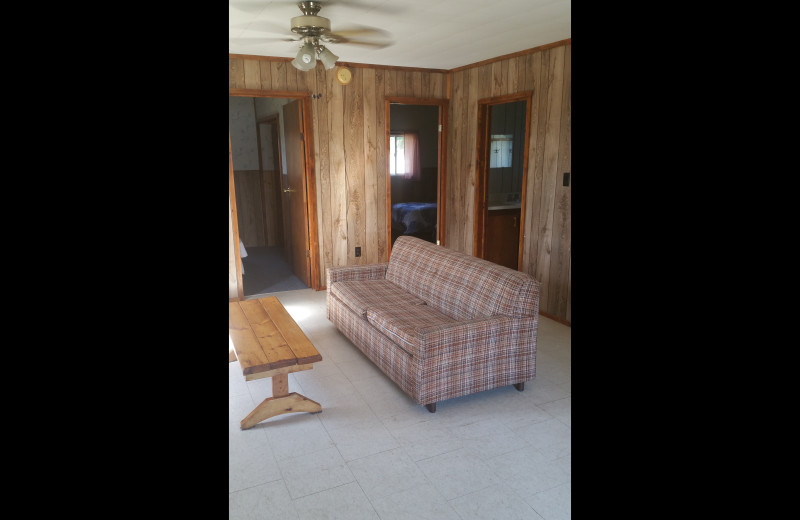 Cabin living room at Elk Lake Wilderness Resort.