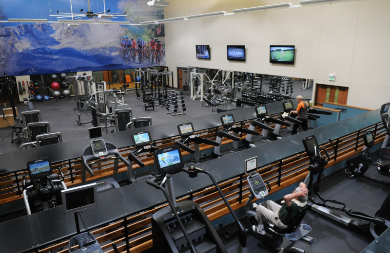 Multi-tier fitness facility with cardio equipment and free weights.