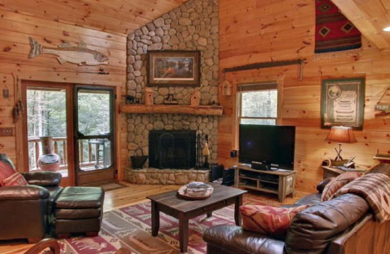 Cabin living room at Georgia Mountain Cabin Rentals.
