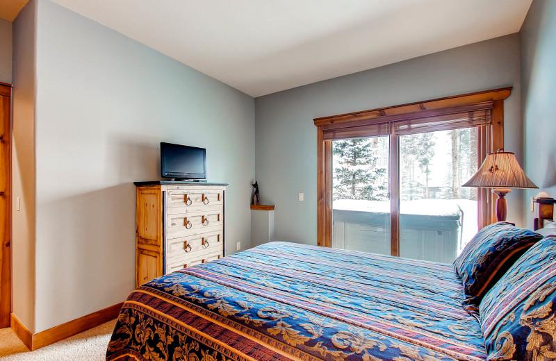 Vacation rental bedroom at Paragon Lodging.