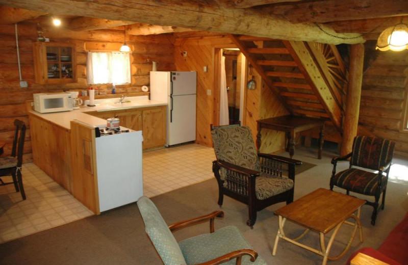 Cabin kitchen at Heston's Lodge