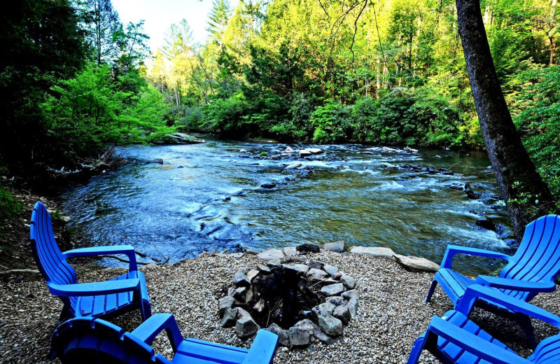 River view at Sliding Rock Cabins.