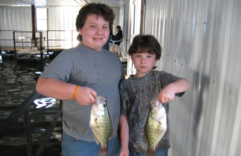 Kids crappie fishing at Alhonna Resort.