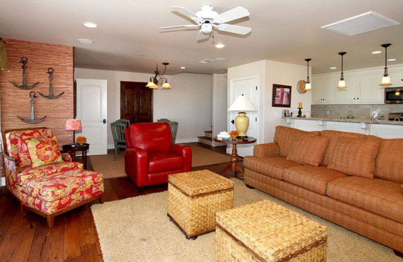 Rental living room at Coastal Vacation Rentals.