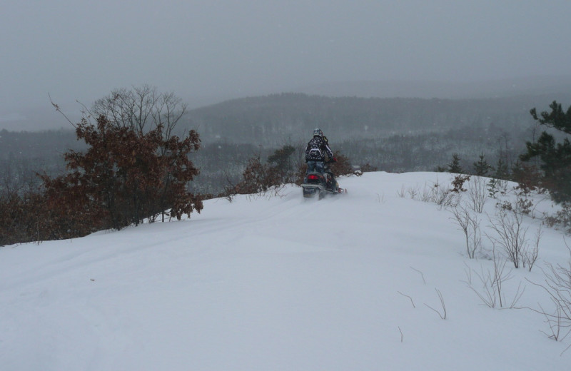 Snowmobiling at Woodside Cottages of Bayfield.
