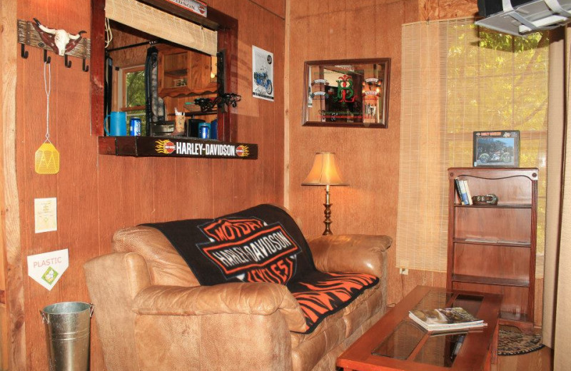Cabin living room at Mountain Rest Cabins and Campground.