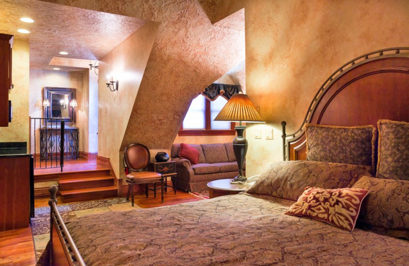 Guest room at Landoll's Mohican Castle.