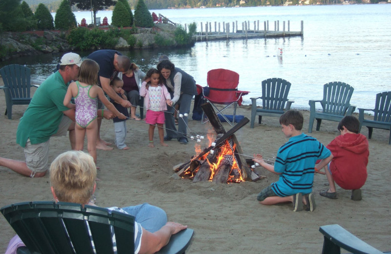 Beach bonfire at The Lodges at Cresthaven on Lake George.