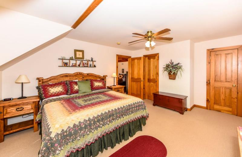 Rental bedroom at Dogwood Cabins LLC.