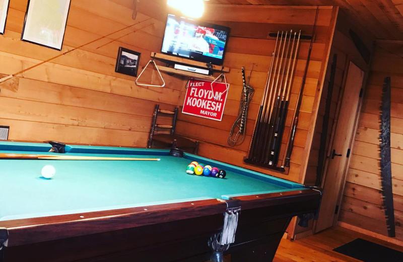 Billiard table at Favorite Bay Lodge.