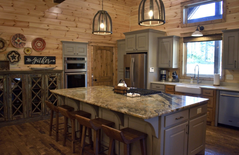 Cabin kitchen at White Glove Luxury Cabins.