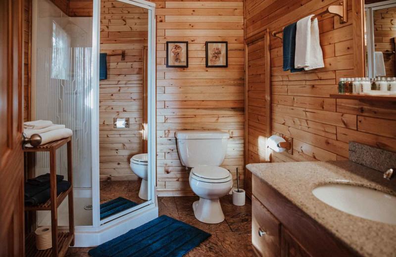 Guest bathroom at Big Creek Lodge.