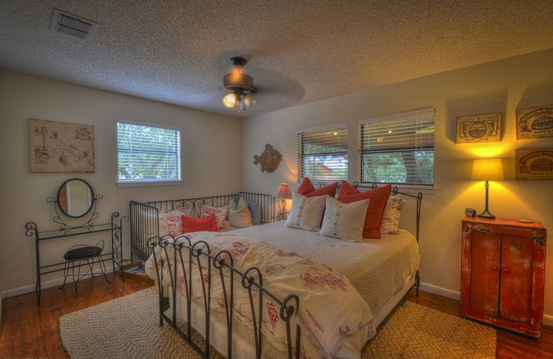 Rental bedroom at Shady Grove Vacation Home on Lake LBJ.