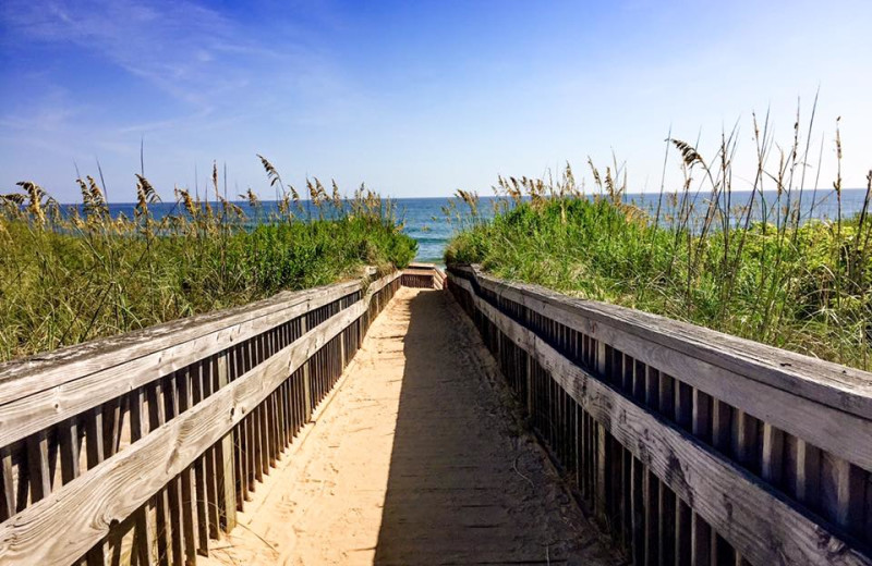 Boardwalk to beach at Beach Realty & Construction.