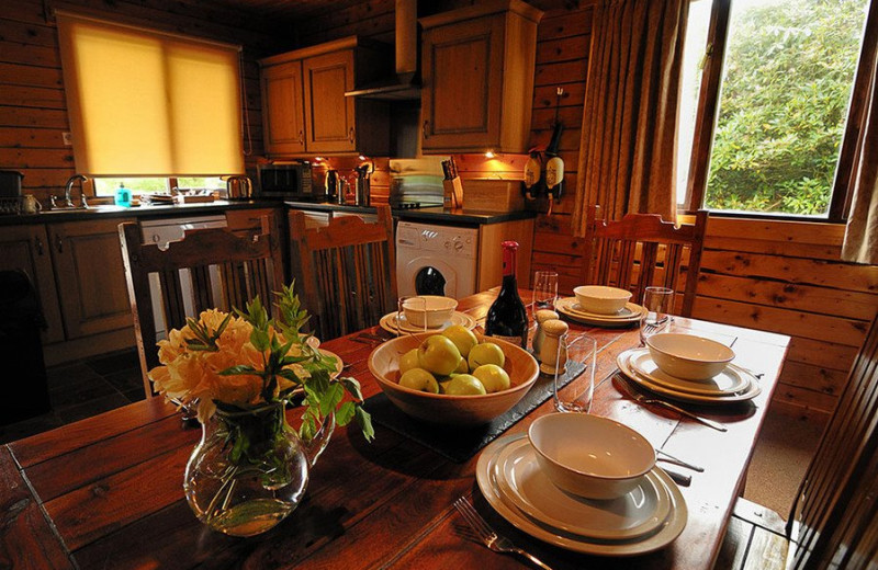 Cabin dining and kitchen at Leny Estate.