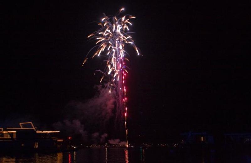 Fireworks on the lake at Jamestown Resort and Marina.