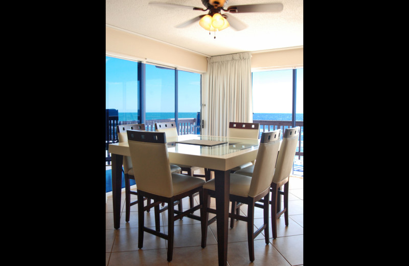 Guest dining room at Island House Beach Front Condominiums.