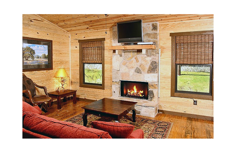 Cabin living room at Hideout on the Horseshoe.