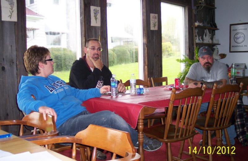 Dining at Lilac Springs.