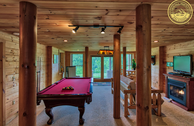 Rental living room at Carolina Vacation Lodging.