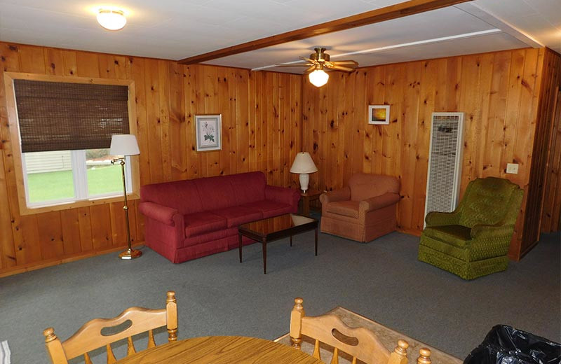 Cabin living room at Madsen's Resort.