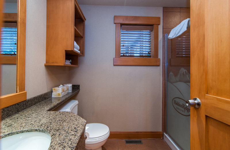 Guest bathroom at Hidden Ridge Resort.