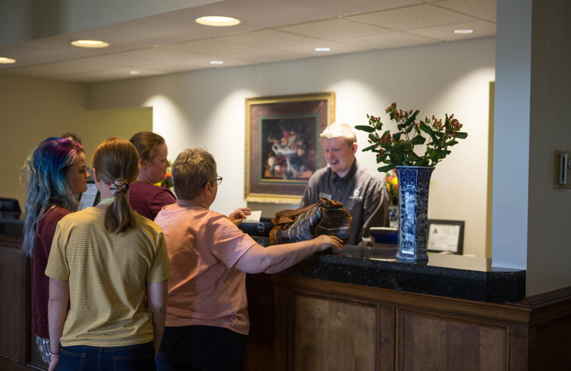 Check-in desk at Lambuth Inn.