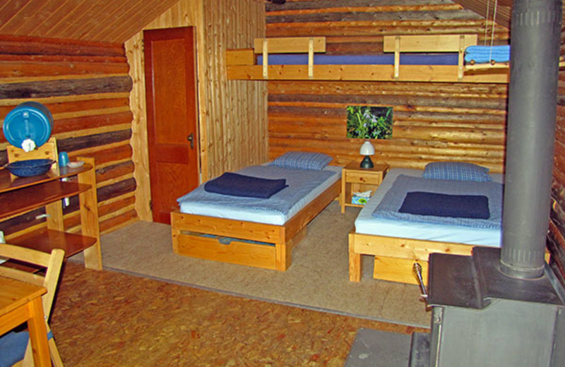 Guest room at Frances Lake Wilderness Lodge.