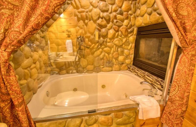 Rental bathroom at Aunt Bug's Cabin Rentals, LLC.
