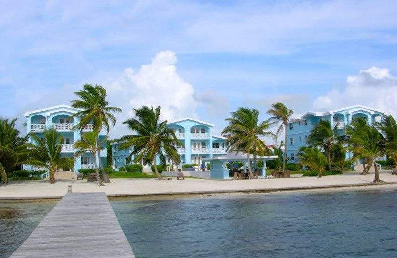 Exterior view of Sunset Beach Resort Ambergris Caye.