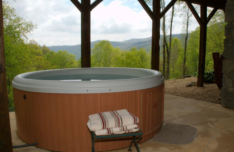 Rental hot tub at Premier Vacation Rentals.