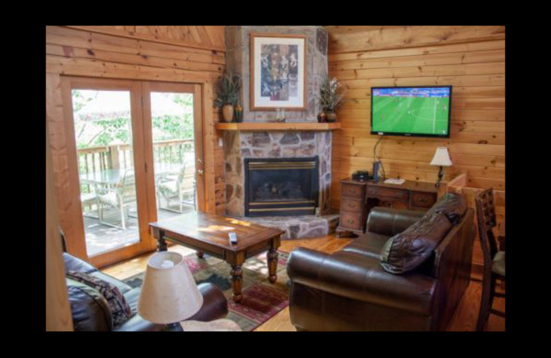 Cabin living room at Mountain Shadows Resort.