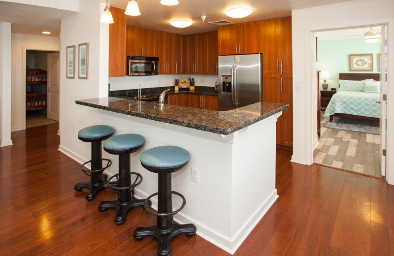 Rental kitchen at Sanctuary Vacation Rentals at Sandbridge.