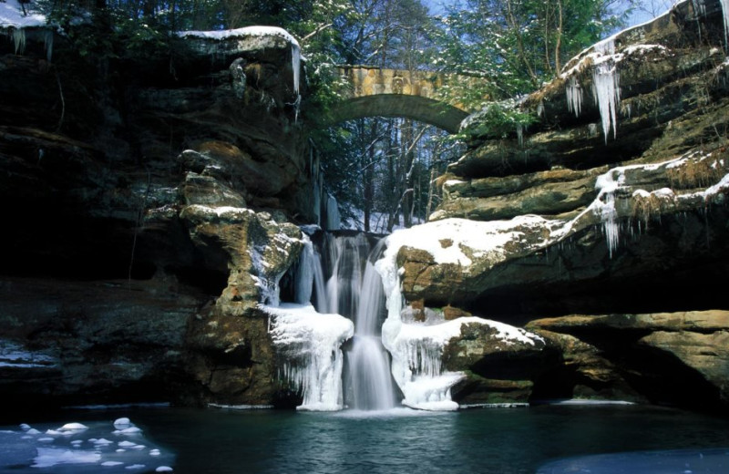 Waterfall near Hocking Hills Cabins.