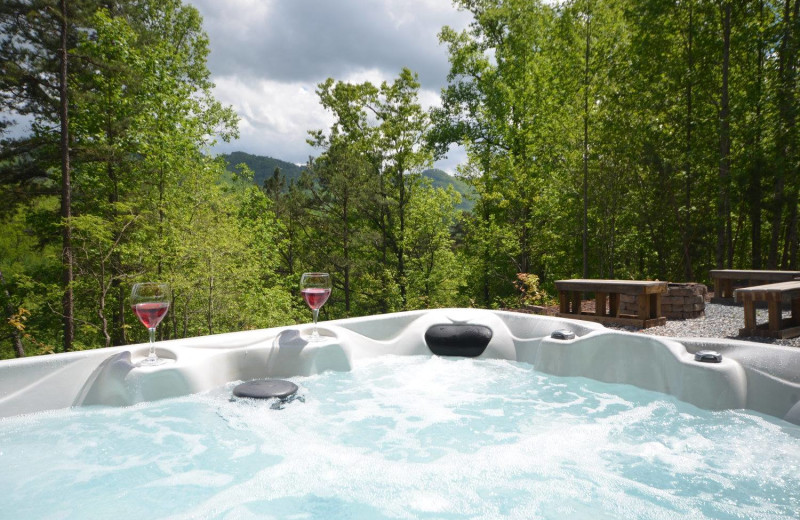 Rental hot tub at Smoky Mountain Cabins.