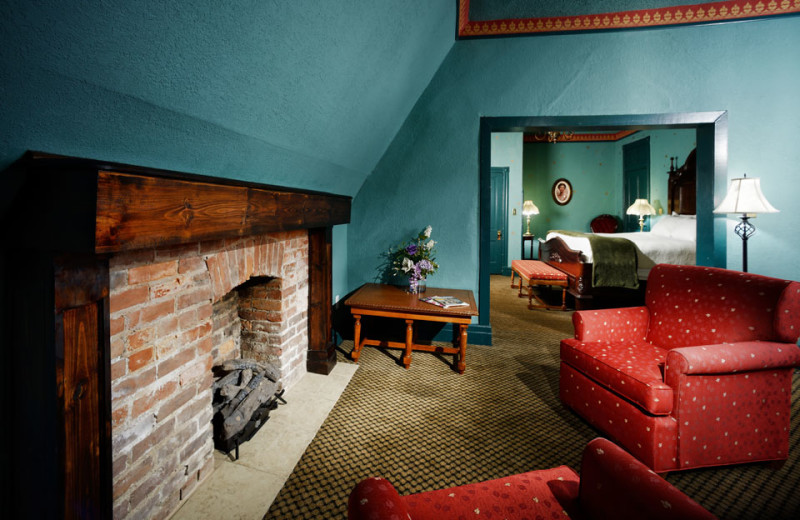 Suite fireplace at The 1886 Crescent Hotel & Spa.