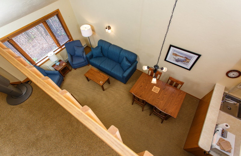 Guest living room at Waterbury Inn Condominium Resort.