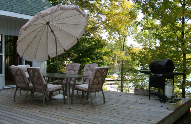 Chalet patio at Port Cunnington Lodge.