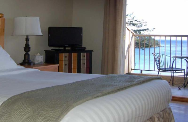 Guest room at Mayne Island Resort and Spa.