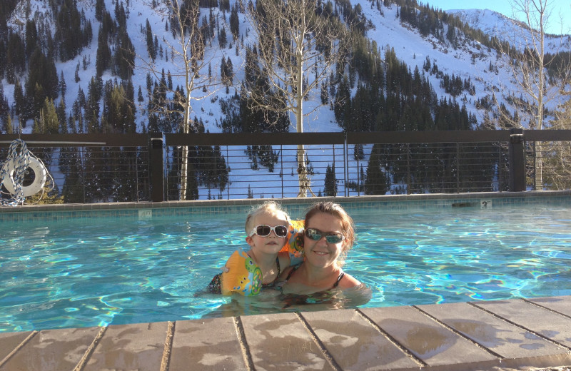 Family swimming at Alta's Rustler Lodge.