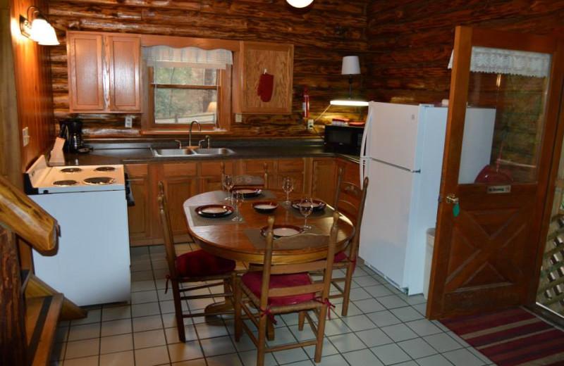 Cabin kitchen at Cheat River Lodge Cabins.