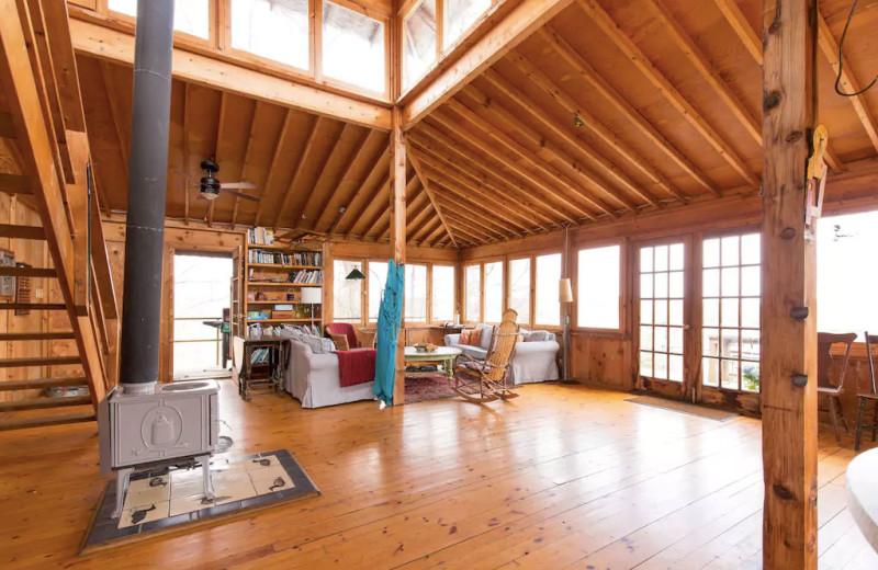 Cottage living room at Bobs Lake Cottages.