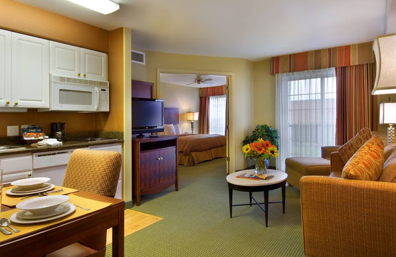 Guest suite at Homewood Suites Portland-Vancouver.
