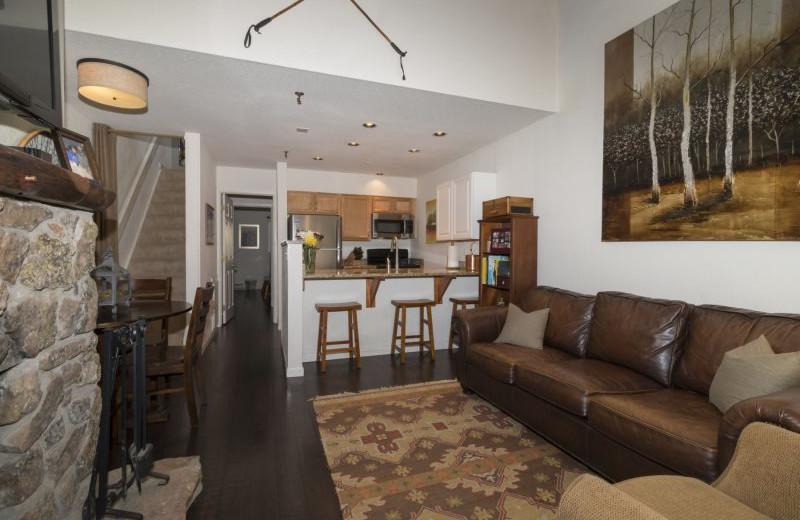 Rental living room kitchen at Alpine Getaways.