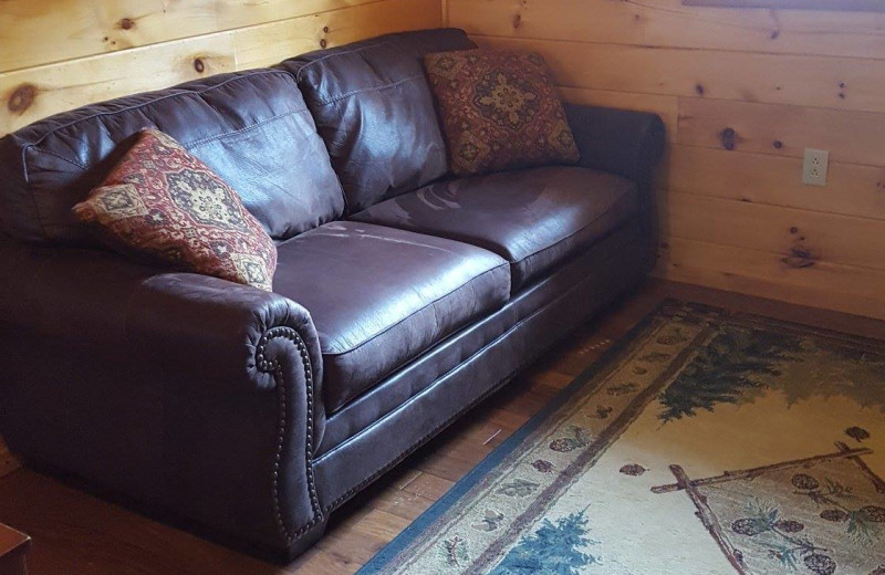 Cabin living room at American Pines Cabins.